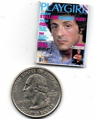 1 Miniature -  Vintage 'Playgirl'  MAGAZINE Sly Stallone - Dollhouse 1:12 scale