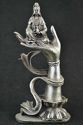 Miao Cupronickel Carving Religiou Luck Kwan-yin On The Buddha Hand Luck Statue