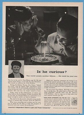 1958 Thomas Edison Age 10 Photo America's Independent Electric Light Power Co Ad