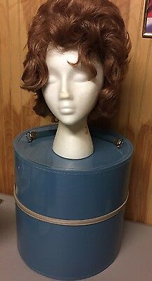 Vintage WIG STORAGE CASE/Box with HEAD FORM/STAND & WIG~Blue Patent Leather