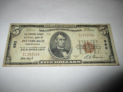 $5 1929 Pittsburgh Pennsylvania PA National Currency Bank Note Bill! Ch. #685