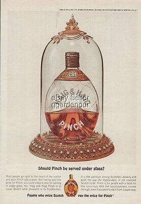 1962 Haig Scotch Pinch Bottle Served Under Glass 1960s Magazine Print Ad