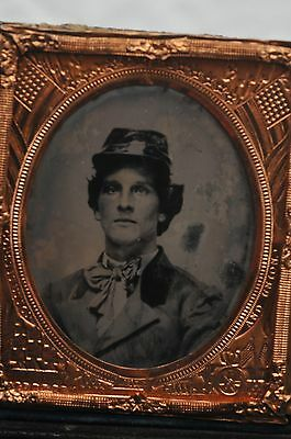 6th PLATE CIVIL WAR TINTYPE of UNION SOLDIER  FANCY TIE & KEPI HAT PATRIOTIC MAT