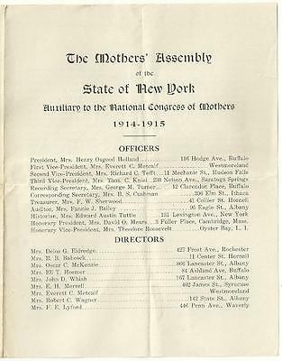 1914 Historic Meeting MOTHERS' ASSEMBLY NEW YORK NATIONAL CONGRESS Mr. Roosevelt