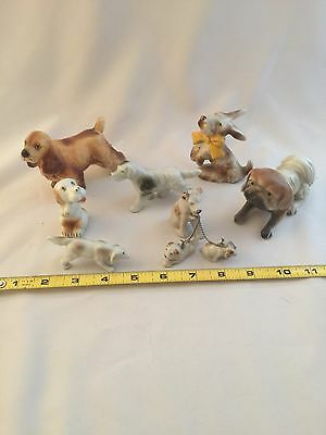 Lot Of 7 Dog Figurines Collectibles Statues Pekingese Japan Spaniel
