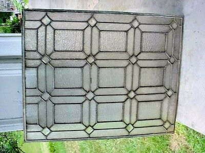 Vintage Original Geometric Pattern Leaded Embossed Glass Window  1 of 7 Matching