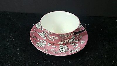 Crown STAFFORDSHIRE Bone China England Cup Saucer set PINK/WHITE floral design