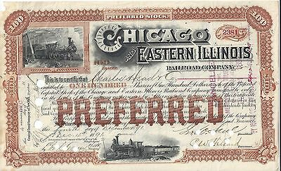 Stk-Chicago & Eastern Illinois RR 1891 Red Two vignettes See image #5 & 6