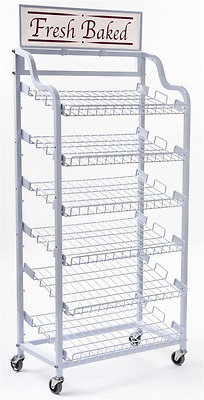 Displays2go Baker's Rack with 6 Adjustable Shelves Wire Display Rack with Wheels