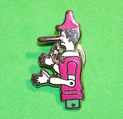 Pinocchio In A Pink Outfit With Long Nose Cartoon Character Lapel Pin Signed Atc