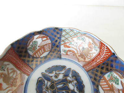 ANTIQUE 19th C JAPANESE IMARI SCALLOPED EDGE BOWL, MEIJI PERIOD HAND PAINTED