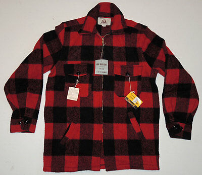 NOS NWT Vintage 40s/50s Wool Buffalo Plaid Work Jacket Sm 38 Hunting