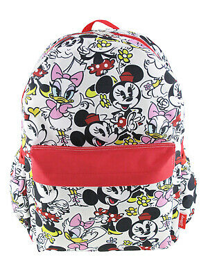 """Disney Minnie Mouse Allover Print 16"""" White Backpack For Girls"""