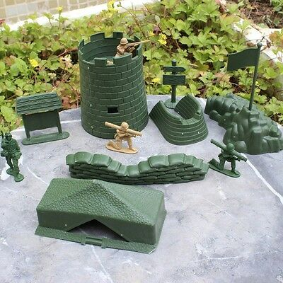 7Pcs Set Military Tent Sandbag Fort Bunker Playset Soldier Army Toy Accessories