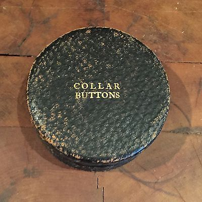 Antique Victorian Black Leather COLLAR BUTTON BOX  Round Labeled Men's Display