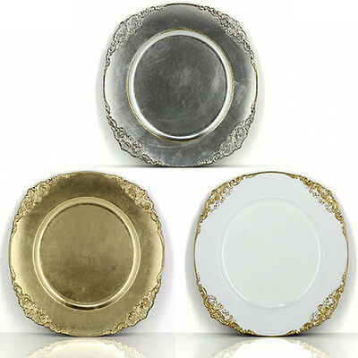 Charger Plates x 12 Vintage Baroque Plastic Gold, Silver or White Wedding Table