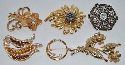 6 Beautiful Vintage Assorted Brooches Lot #1
