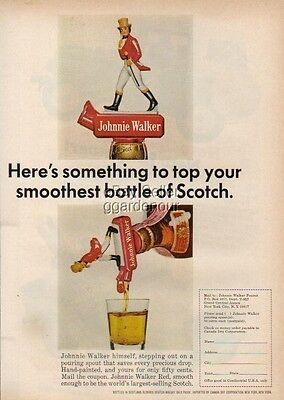 1965 Johnnie Walker Scotch Red Label pouring spout photo Ad