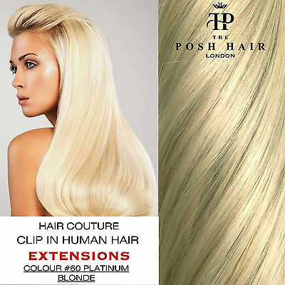 "Clip In Human Hair Extensions Full Head 16"", Colour #60 More Colours Lengths"