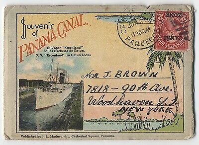 Canal Zone 2 cent overprint stamp on small postcard folder cute use