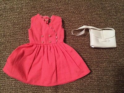 Vintage Cricket Tressy/Skipper Randy sized doll dress-Pink with white Purse