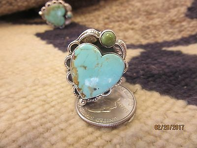 Kingman Turquoise Heart Sterling silver Adjustable Ring - by Dan Dodson of n.m.