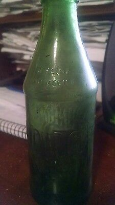 Vintage Mountain Dew Embossed Green Glass Bottle 10 ounce