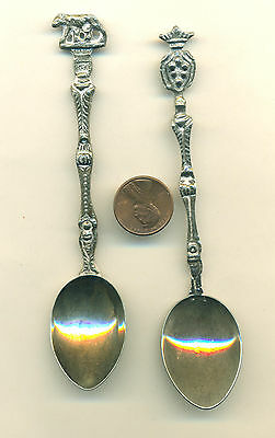 Vintage SILVER Plate SOUVENIR SPOON, Art Deco Lion or Bear Lot