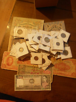 Lot Of 53 Foreign Coins And 7 Foreign Notes