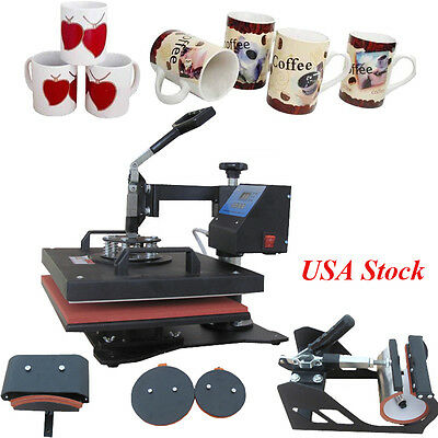 USA 5 in 1 Digital Transfer Sublimation Heat Press Machine for T-Shirt Mug Hat