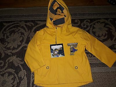 NWT boys size 12M yellow and black Bumblebee Boy rain coat with lots of pockets