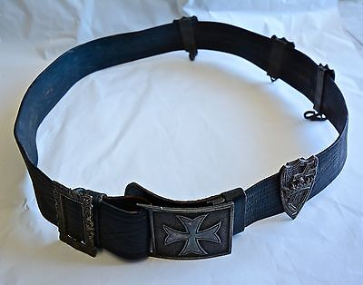 Antique Knight's Templar Masonic Crown Belt Leather 1800s Buckle