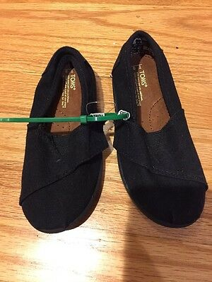 New Toms Black Canvas Slip On Shoes Sandals Toddler Kids 9