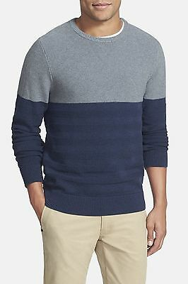 1901 NEW Blue Gray Young Mens Size XL Colorblock Crewneck Sweater $69 543 DEAL