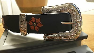 Girls Nocona Leather Belt Embroidered Accents Size 20