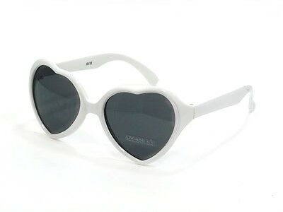 Girls Sweet Pie Sunglasses Kids Age 2-4 Heart Shaped Cute White Frame