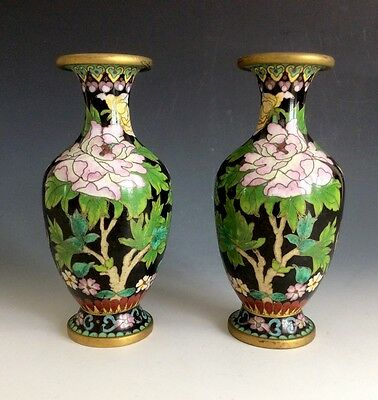 A Pair Of Beautiful Antique Vintage Chinese Cloisonne Vases