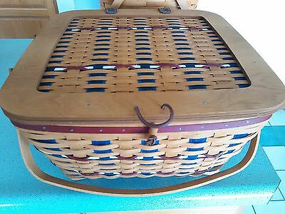Longaberger 2016 Collector's Club Limited Square Americana Picnic Basket & prot