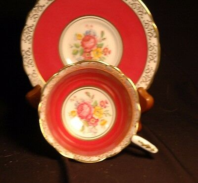 Royal Stafford Red Gold Floral Cup and Saucer