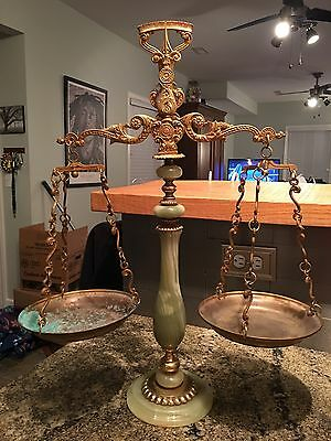 Collectible Apothecary Scale/Lawyer Scale. Jade & Brass