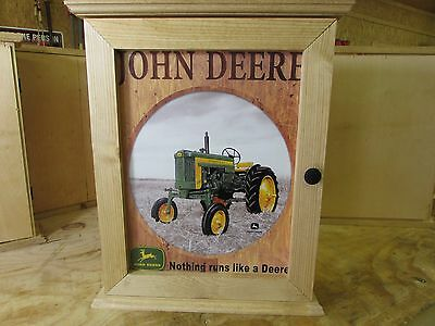 John Deere - Handcrafted –Wood- Tin Sign – Medicine Cabinet - Wall Cabinet – New