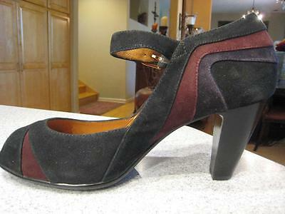 NEW Sofft Leather Black & Suede Retro Style Mary Jane Pumps Heels Shoes S 11