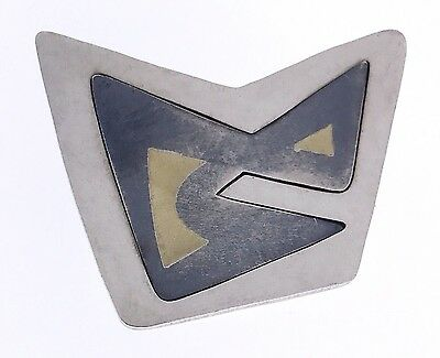 Vintage Taxco Sterling Silver Inlaid Modernist Pin Signed Jose Marmolejo? Mexico