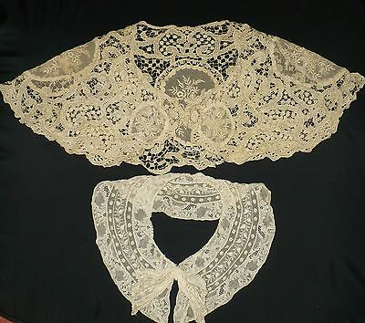 2 Antique Lace Collars Cape Collar & Tie Very Beautiful!