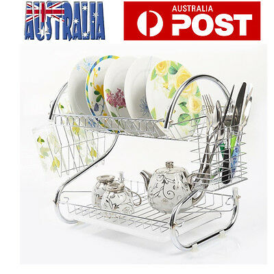 2 Layers Dish Drying Rack Cup Drying Tray Drainer Utensil Dryer Organizer Stand