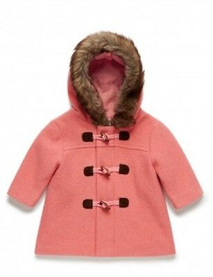 Purebaby NEW WITH TAGS Girls Wool Duffle Coat, RRP $120, Size 1 (12-18 months)