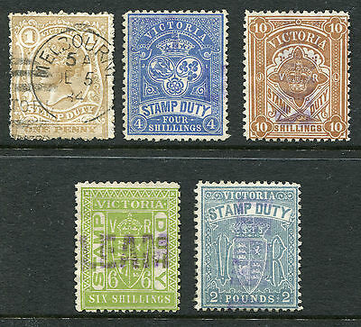 1850-1913 Victoria.  Victorian Stamp Duty.  5 stamps USED.