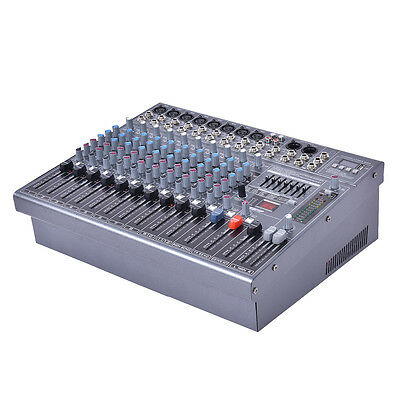 "16"" Professional 12 Channel Studio Music Mixer Live Performance Console 48V"
