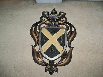 Vintage Burwood 4413 Family Crest Armor Shield Coat of Arms With a Crown