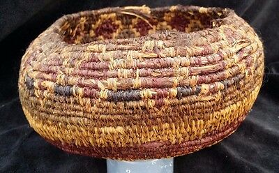 Antique Native American Finely Woven Coiled Basket 1800's REAL Tribe Art